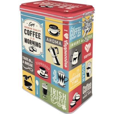 Plåtburk Clip Top Box Coffee Morning 1,3L