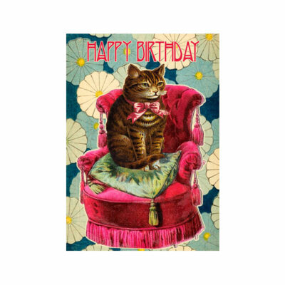 Dubbelt Kort – Cat on the Red Chair – Happy Birthday